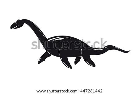 Monochrome image of plesiosaurus isolated on white background. Art vector illustration. - stock vector