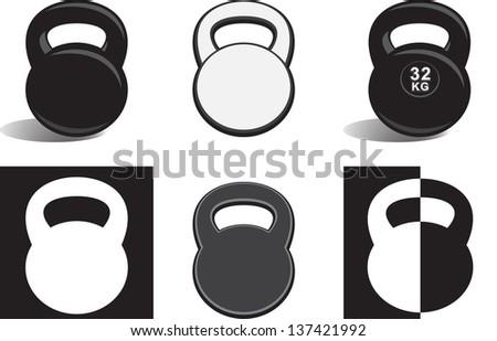 Monochrome kettle bells on white background (vector) - stock vector