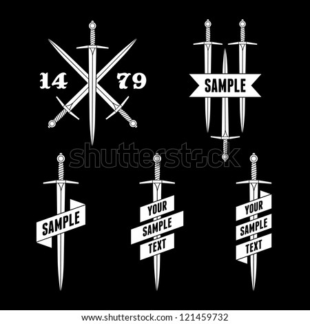 monochrome label with sword and ribbon - stock vector