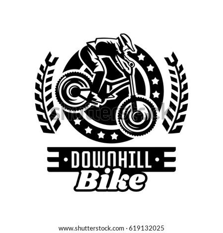 monochrome logo mountain bike racer downhill stock vector