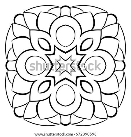 monochrome mandala symmetrical pattern in the square contour illustration for color book template - Color Book