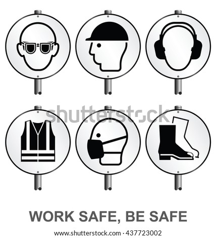 Monochrome mandatory construction manufacturing and engineering health and safety signs mounted on posts to current British Standards isolated on white background - stock vector
