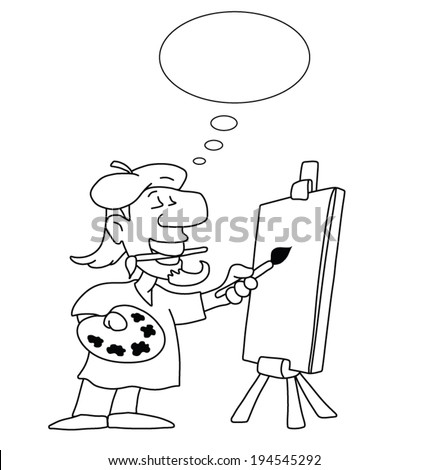 Monochrome outline cartoon artist with thought bubble for own text and blank canvas for own graphics isolated on white background - stock vector