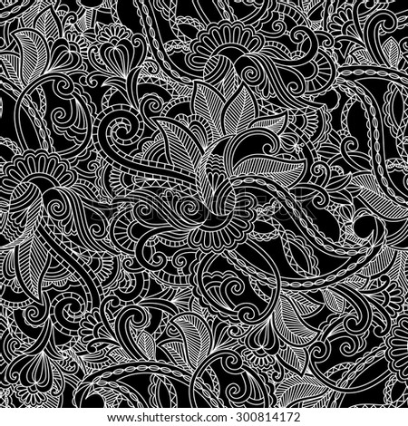 Monochrome paisley pattern for textile, wrapping
