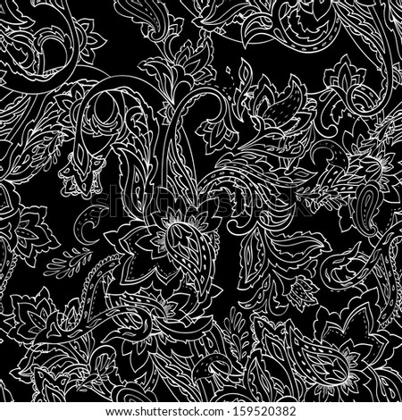 Monochrome paisley pattern. Seamless background. Vector illustration