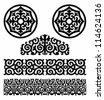 Monochrome pattern in traditional Kazakh style - stock photo