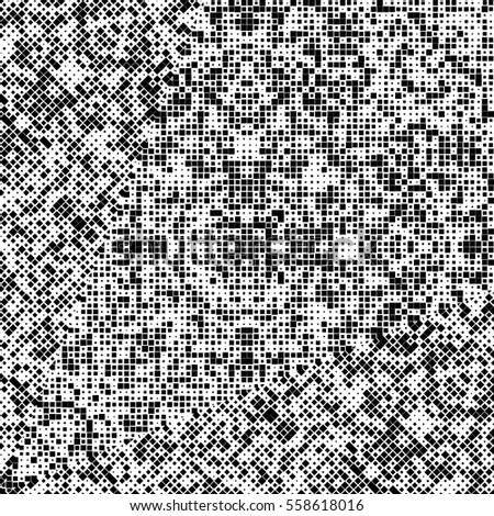 Monochrome Pattern with Black Squares on White Background. Abstract Halftone Design