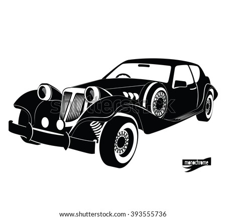 Monochrome retro car, front view black auto silhouette, luxury vintage automobile on white background, hand drawing style for design card, banners, flyer, print. ?ar rental for driving in the city.