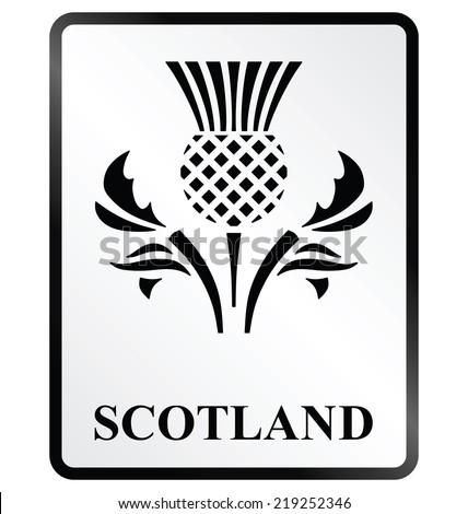 Monochrome Scotland public information sign isolated on white background - stock vector