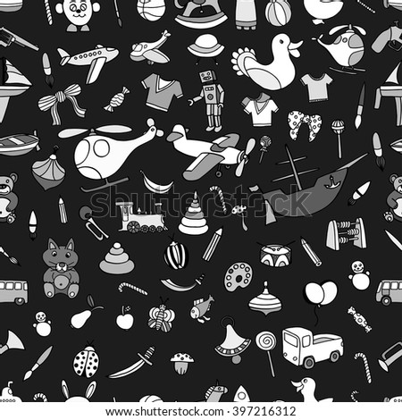 Monochrome Seamlesbackground of Funny baby toys set. Vector doodle collection of hand drawn icons for baby shower or scrapbook - stock vector