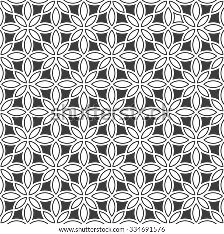 Monochrome seamless flower pattern in oriental style. Vector background - stock vector
