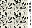 Monochrome Seamless Hand-Drawn Floral Pattern - stock photo