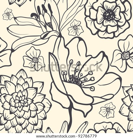 Monochrome Seamless Hand-Drawn Floral Pattern - stock vector
