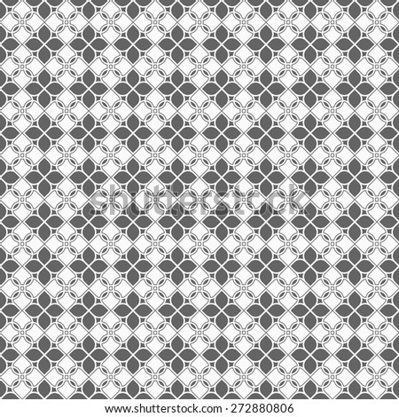 Monochrome seamless pattern in oriental style - variation 5. Vector background - stock vector