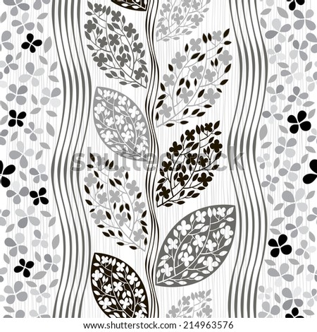 Monochrome seamless pattern of abstract blooming branches. - stock vector