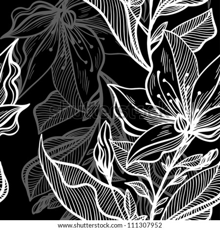 monochrome seamless pattern of abstract flowers and leaves - stock vector