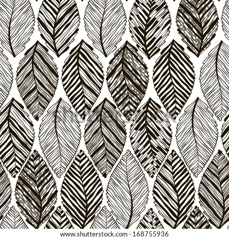 Monochrome seamless pattern of abstract leaves. - stock vector