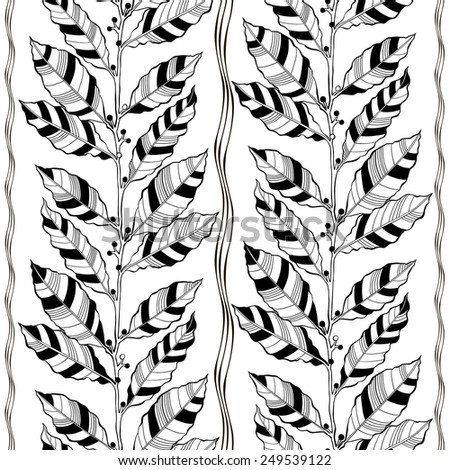 Monochrome seamless pattern of abstract leaves. Black and white vector illustration. - stock vector