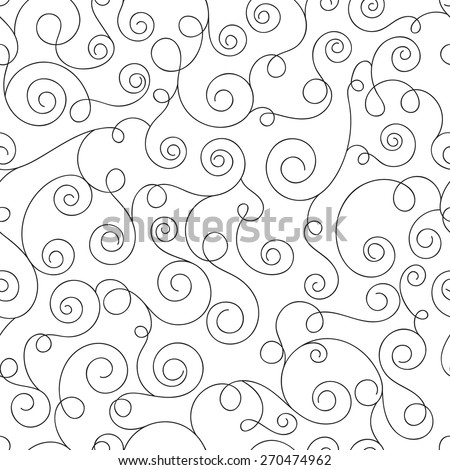 Monochrome seamless pattern with curls. Abstract background with hand drawn elements. Vector illustration - stock vector