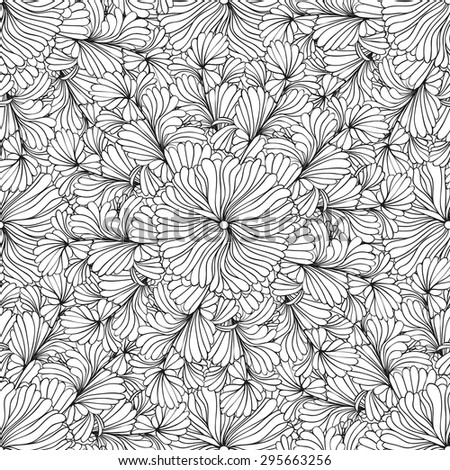 Monochrome seamless pattern with hand drawn doodle flowers - stock vector