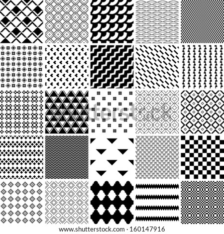 monochrome seamless patterns set. abstract vector background. - stock vector