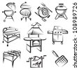 monochrome set of barbecue and grill icons - stock vector