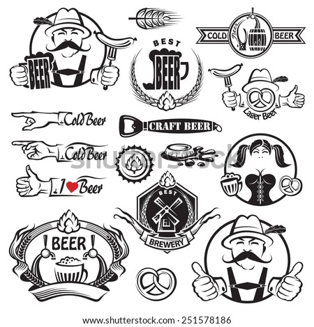 monochrome set of beer icons  - stock vector