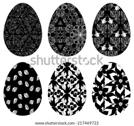 Monochrome set of Easter eggs with pattern on white background - stock vector