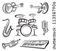 monochrome set of musical instruments - stock photo