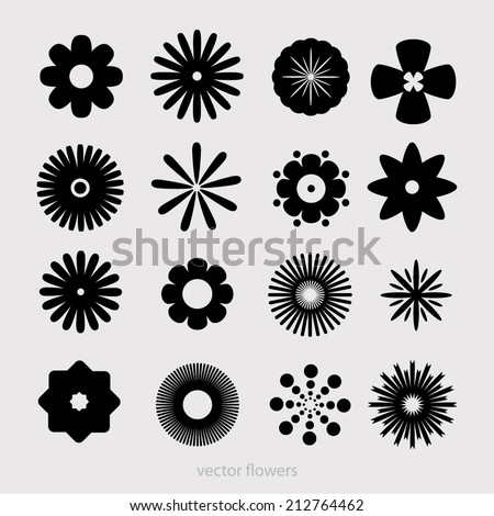Monochrome set: silhouettes of simple vector flowers. flowers icons for decorative and beauty design - stock vector