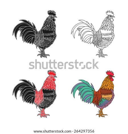 Monochrome silhouette and colorful vector illustration of the cock. - stock vector