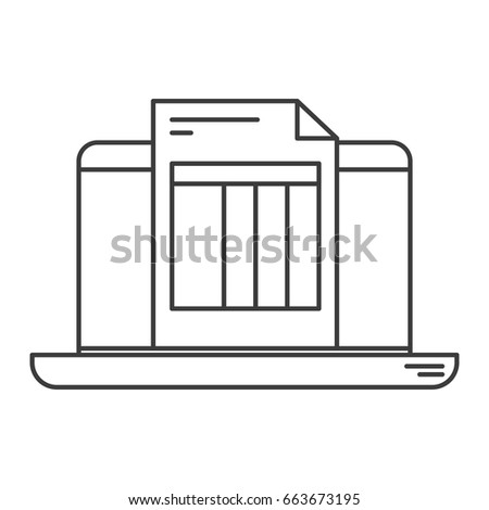 monochrome silhouette laptop computer billing sheet stock vector