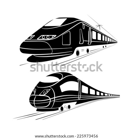 monochrome silhouette of the high-speed passenger train - stock vector