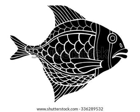 Monochrome stylized Fish. Hand Drawn doodle vector illustration isolated on white background. Sketch for tattoo or makhenda. Sea food collection.