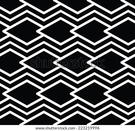 Monochrome symmetric seamless pattern with parallel lines, black and white infinite geometric mosaic textile, abstract vector textured web visual covering.  - stock vector