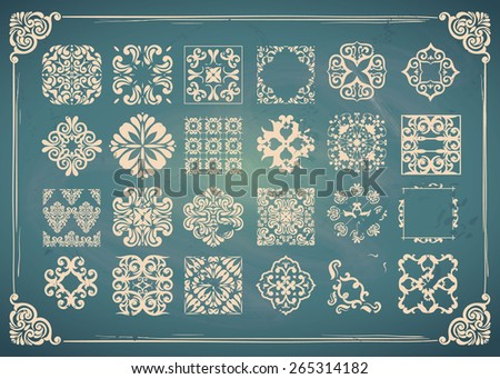 Monochrome TILE Collection. Easy to use. Blue Chalkboard design - stock vector