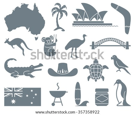Monochrome traditional symbols of Australian culture and nature - stock vector