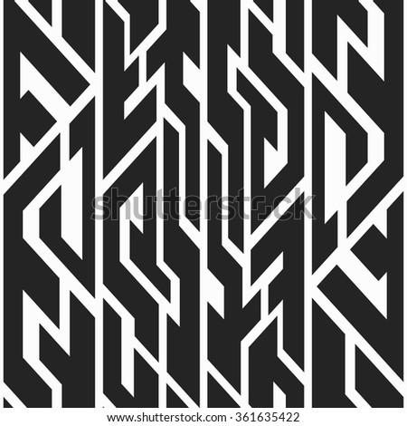 Monochrome tribal seamless pattern. - stock vector