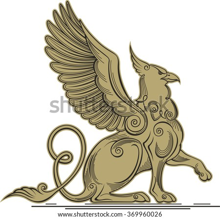 Monochrome vector illustration of a griffin - a mythical creature with the head, claws and wings of an eagle and a lion's body.