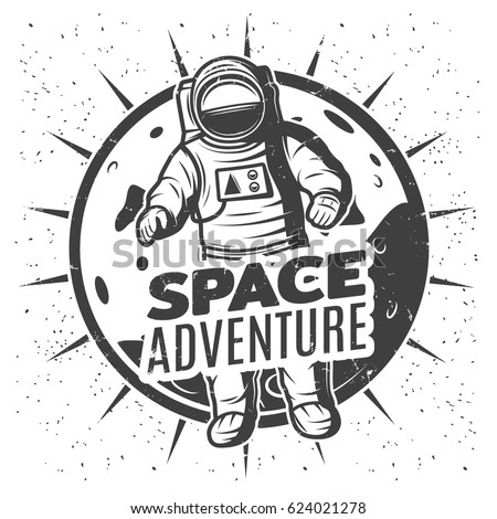 Monochrome Vintage Space Research Label Template Stock Vector ...