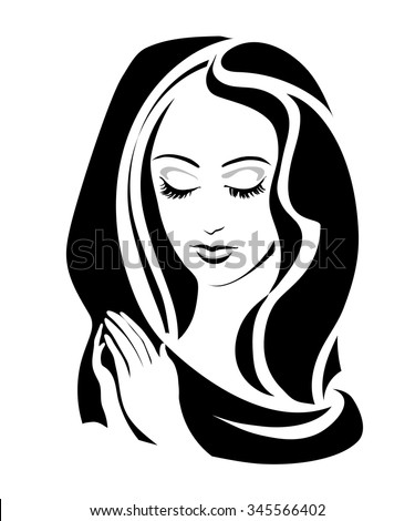 monochrome Virgin (Madonna) with her hands folded in prayer. Vector illustration - stock vector
