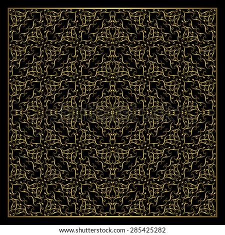 Monogram design elements, graceful template. Calligraphic elegant line art logo design.  Abstract decorative black background with vintage modern pattern. Grid gold braiding. Vector illustration - stock vector