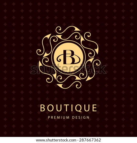 Monogram design elements, graceful template. Calligraphic elegant line art logo design. Letter emblem B. Business sign for Royalty, Boutique, Cafe, Hotel, Heraldic, Jewelry, Wine. Vector illustration - stock vector