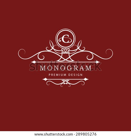 Monogram design elements, graceful template. Calligraphic elegant line art logo design. Letter emblem C. Business sign for Royalty, Boutique, Cafe, Hotel, Heraldic, Jewelry, Wine. Vector illustration - stock vector