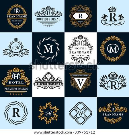 Monogram design elements, graceful template. Calligraphic elegant line art logo design. Letter emblem sign R, B, M, H, V, W for Royalty, business card, Boutique, Hotel, Heraldic. Vector illustration - stock vector