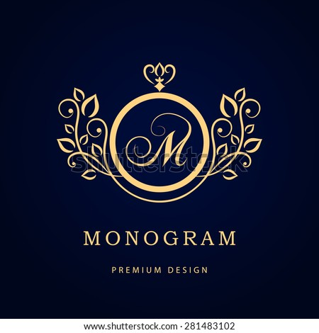 Monogram design elements, graceful template. Calligraphic elegant line art logo design. Letter M. Business sign for Royalty, Boutique, Cafe, Hotel, Heraldic, Jewelry, Wine. Vector illustration - stock vector