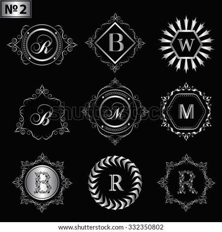 antique design monogram silver stock images, royalty-free images