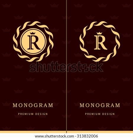 Monogram design elements, graceful template. Letter emblem sign R. Calligraphic elegant line art logo design for business cards, Royalty, Boutique, Cafe, Hotel, Heraldic, Jewelry. Vector illustration - stock vector