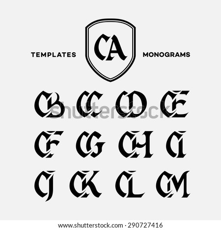 Monogram design template with combinations of capital letters CA CB CC CD CE CF CG CH CI CJ CK CL CM. Vector illustration.
