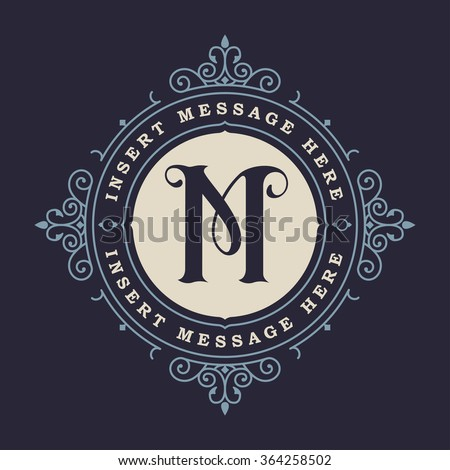 Monogram emblem insignia. Calligraphic logo ornament vector design. Decorative frame for Restaurant Menu, Hotel, Jewellery, Fashion, Label, Sign, Banner, Badge - stock vector